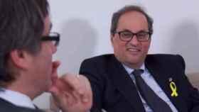 Carles Puigdemont y Quim Torra durante una reunión.
