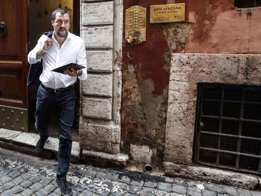 El líder de la ultraderechista Liga Norte, Matteo Salvini, tras la reunión con Luigi di Maio, líder del M5E.