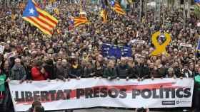 Manifestación de sindicatos y asociaciones independentistas en Barcelona