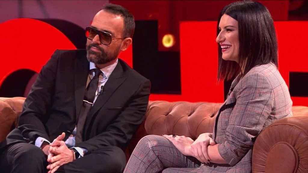Risto y Laura Pausini durante el programa.