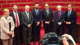 Quim Torra, Mas, Montilla, Roger Torrent, Joan Rigol, Ernest Benach y Núria de Gispert. Foto: gencat.cat