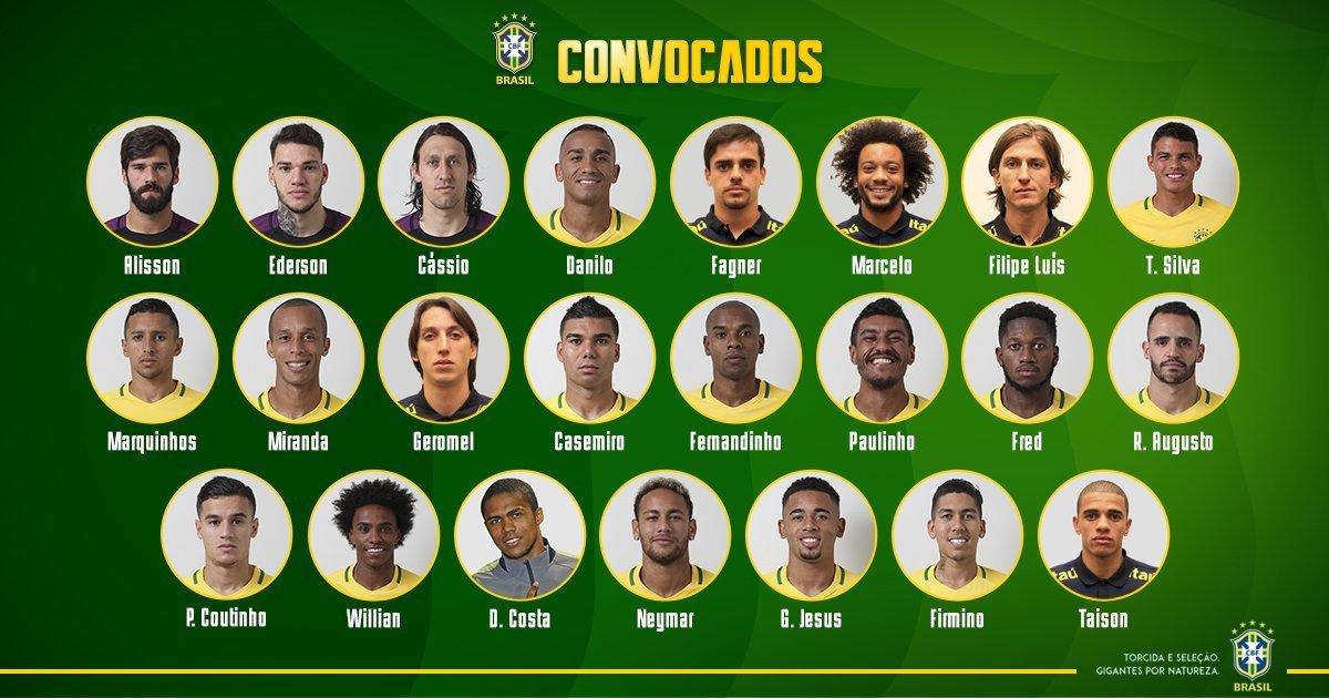 Lista definitiva de Brasil para el Mundial de Rusia. Foto: Twitter (@CBF_Futebol)
