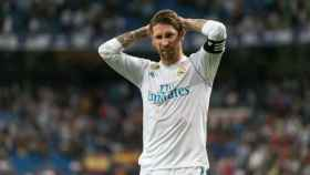 Sergio Ramos se lamenta tras fallar una ocasión