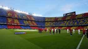 Mosaico del Camp Nou para El Clásico. Foto: Manu Laya/El Bernabéu