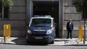 Un furgón policial en donde transportaban a los exconsellers encarcelados, a su llegada al Supremo la semana pasada
