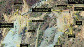 Imágenes por satélite del 7 de mayo que ponen de manifiesto la desnuclearización del régimen norcoreano.