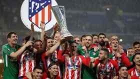 Los jugadores del Atlético celebran un gol de Griezmann.