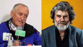 Los alpinistas Krzysztof Wielicki y Reinhold Messner en dos imágenes recientes.