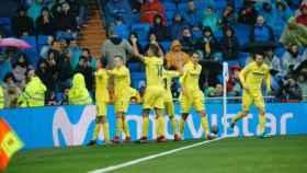 El Villarreal celebrando el gol al Madrid. Foto: Manu Laya / El Bernabéu