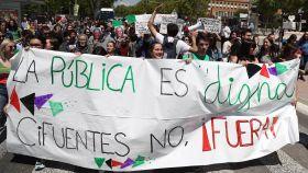Los estudiantes de la Complutense marcharon desde el metro de Ciudad Universitaria hasta el Rectorado.