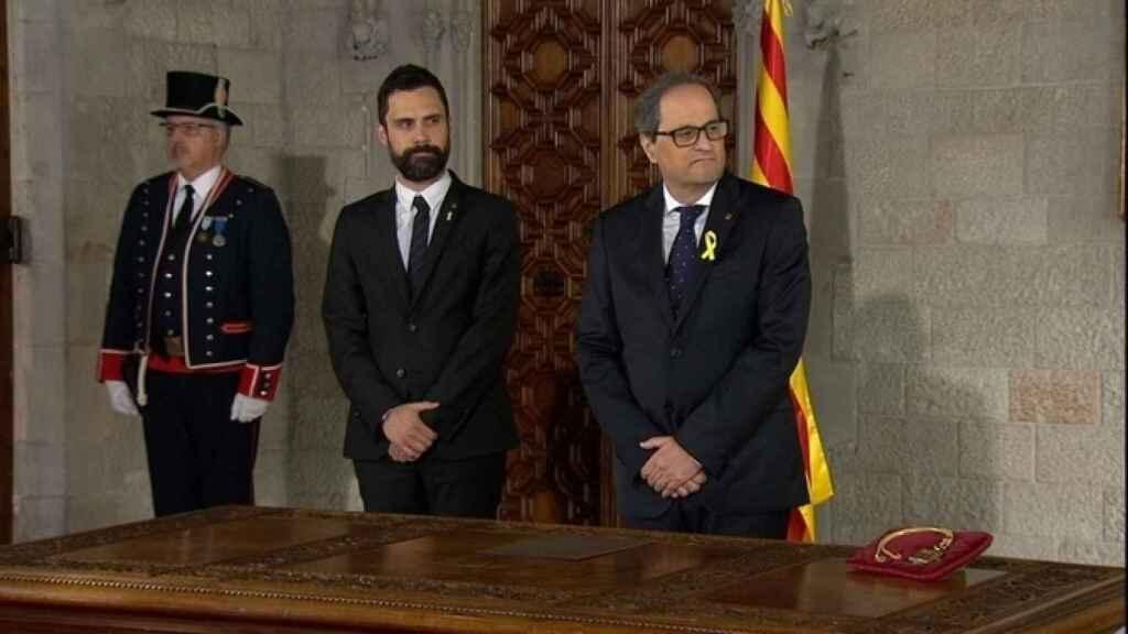 Torrent junto a Torra, en la toma de posesión como president.