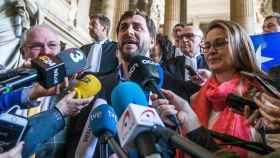 Puig, Comin y Serret, el miércoles en Bruselas tras la decisión judicial./