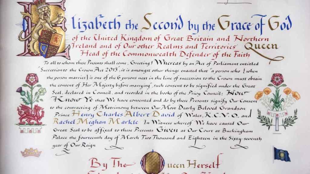 Consentimiento de la reina Isabel II para la boda de Meghan y Harry.