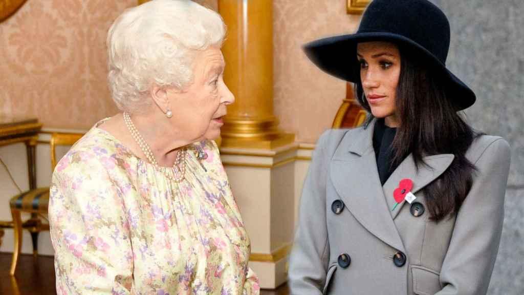 La reina Isabel II y Meghan Markle en un montaje de JALEOS.