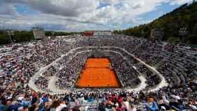 La pista central del torneo de Roma, durante el debut de Nadal.