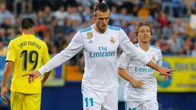 Gareth Bale celebra el gol con el Real Madrid.