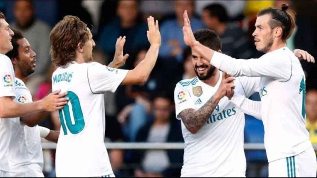 Celebración del gol de Bale en el Estadio de la Cerámica