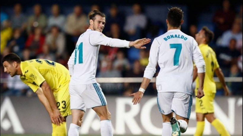 Cristiano celebra con Bale su gol al Villarreal