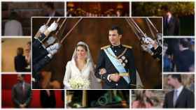 Felipe y Letizia en su boda, en un montaje junto a otros momentos.
