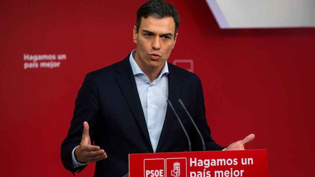 Pedro Sánchez, este lunes en una rueda de prensa en Ferraz.