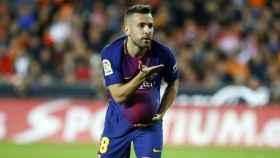 Jordi Alba celebra un gol con el Barcelona. Foto: fcbarcelona.es