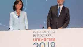 Ana Botín y Mariano Rajoy durante la clausura de la IV Conferencia de Rectores de Universia.