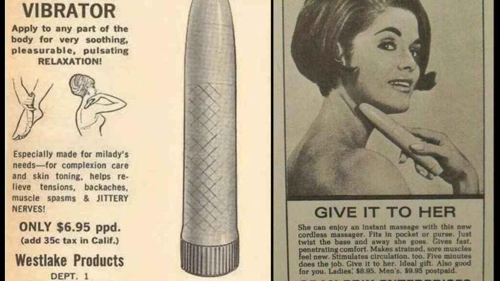 Anuncios clásicos de vibradores para cuello y espalda en la prensa anglosajona.