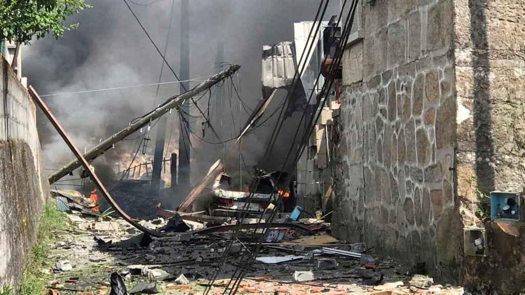Así ha quedado la zona de Baldráns afectada por la explosión.