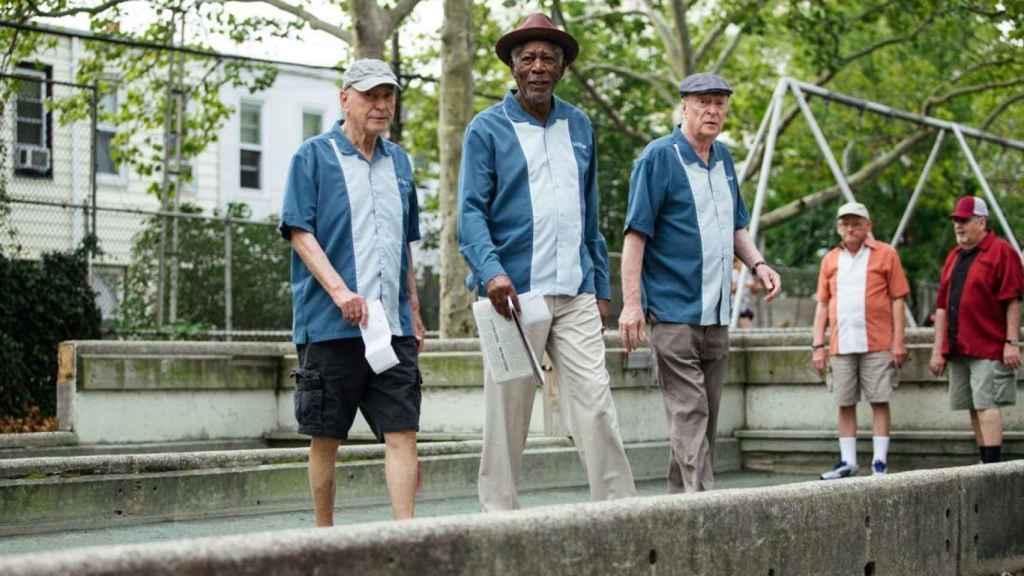 Morgan Freeman en el rodaje de Un golpe con estilo.