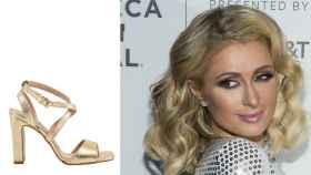 Paris Hilton junto a uno de sus diseños.