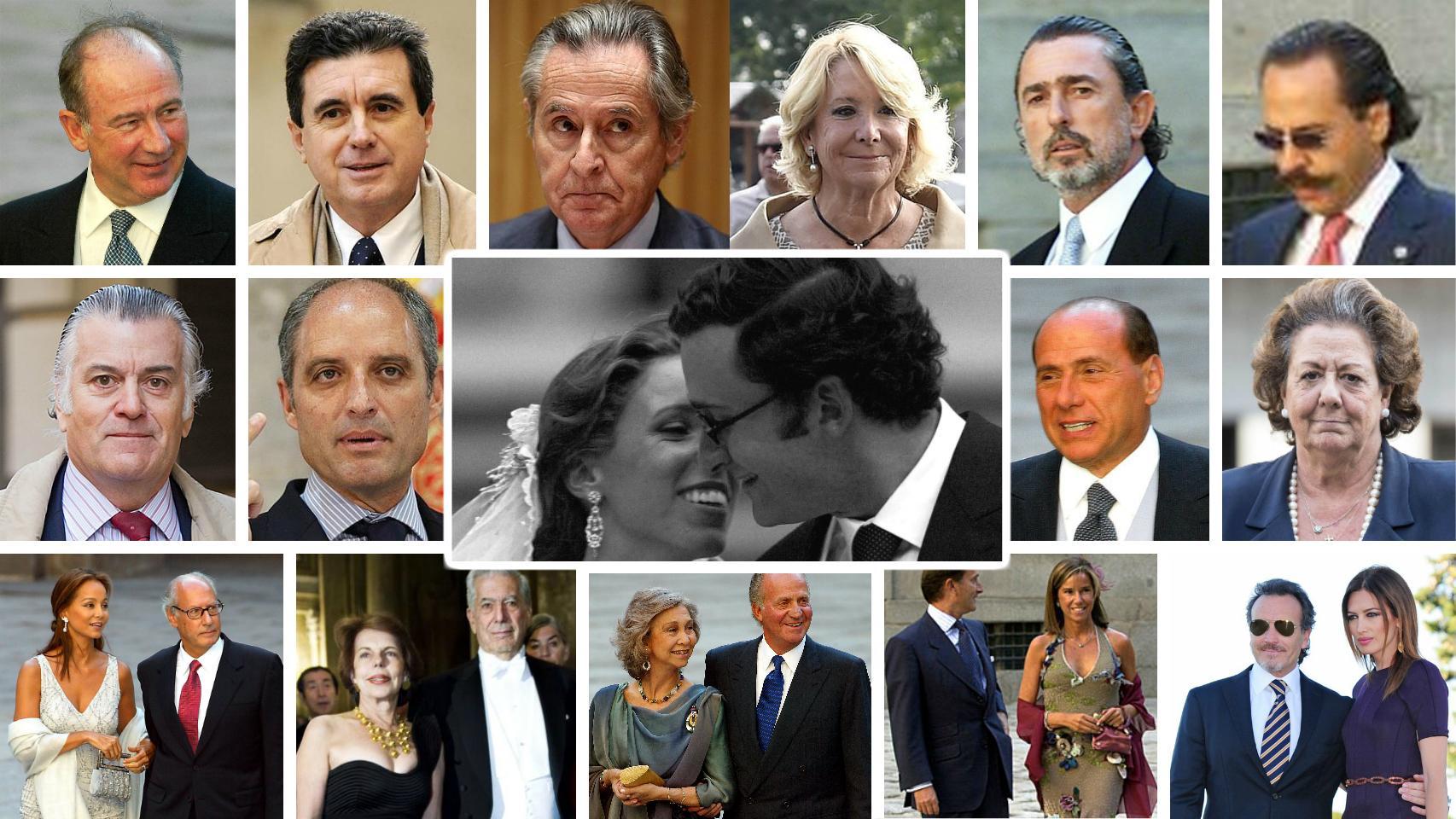 Montaje JALEOS con los invitados a la boda de Alejandro Agag y Ana Aznar.