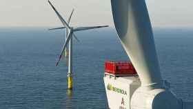 Imagen de archivo de un parque eólico marino de Iberdrola.