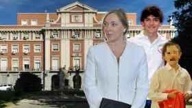'Viri', Mariano Jr. y Juan, la familia Rajoy en un montaje frente a Moncloa.