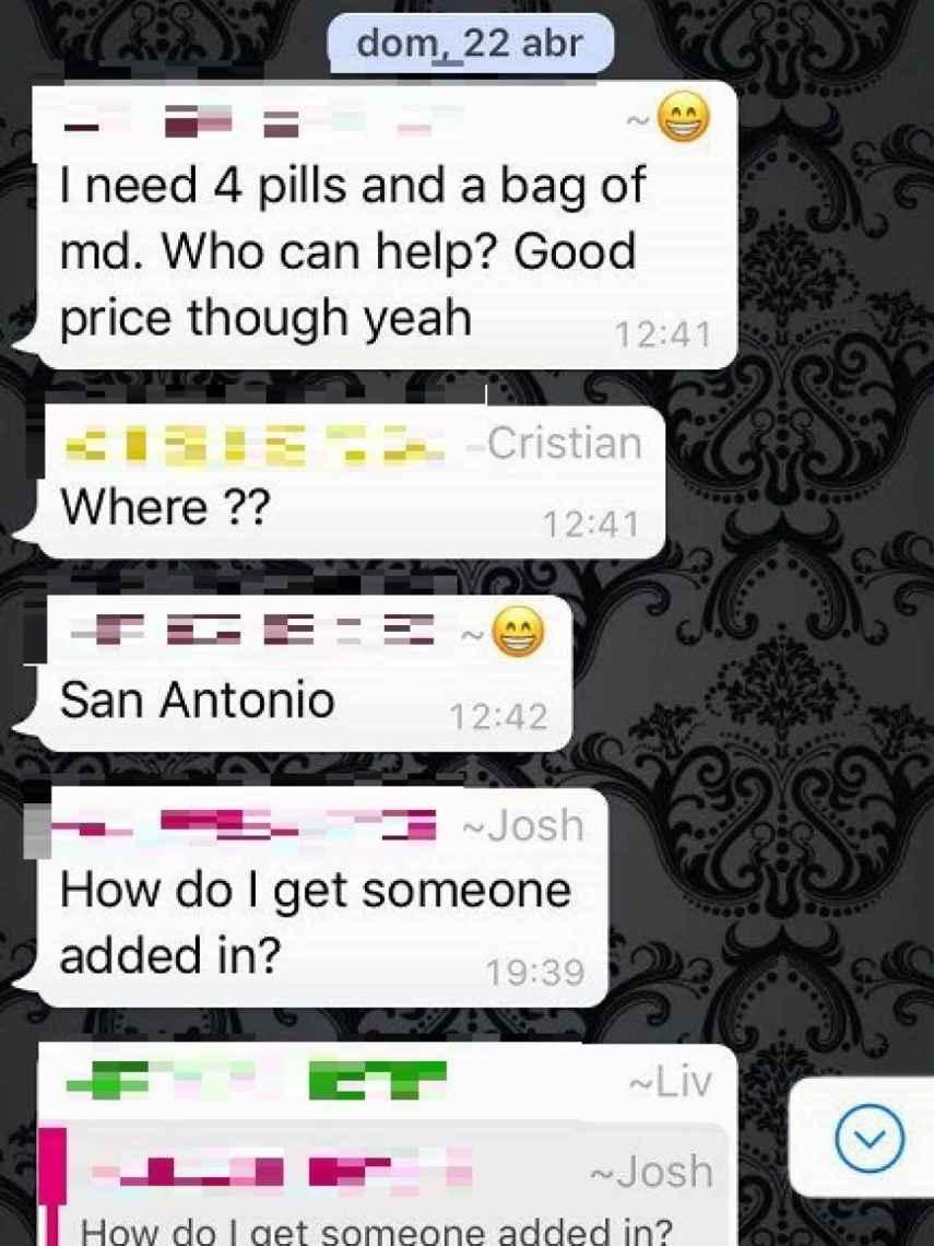 Chats de whatsapp donde se ofrece droga en Ibiza