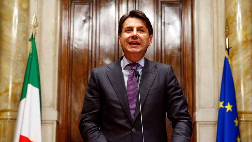 Giuseppe Conte, durante una rueda de prensa en Roma esta semana.