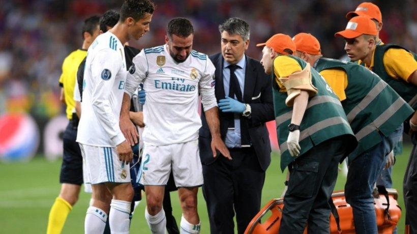 Carvajal se marcha lesionado en la final de Champions. Foto: Twitter (@ChampionsLeague)