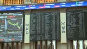 Pantallas informativas de la Bolsa de Madrid.