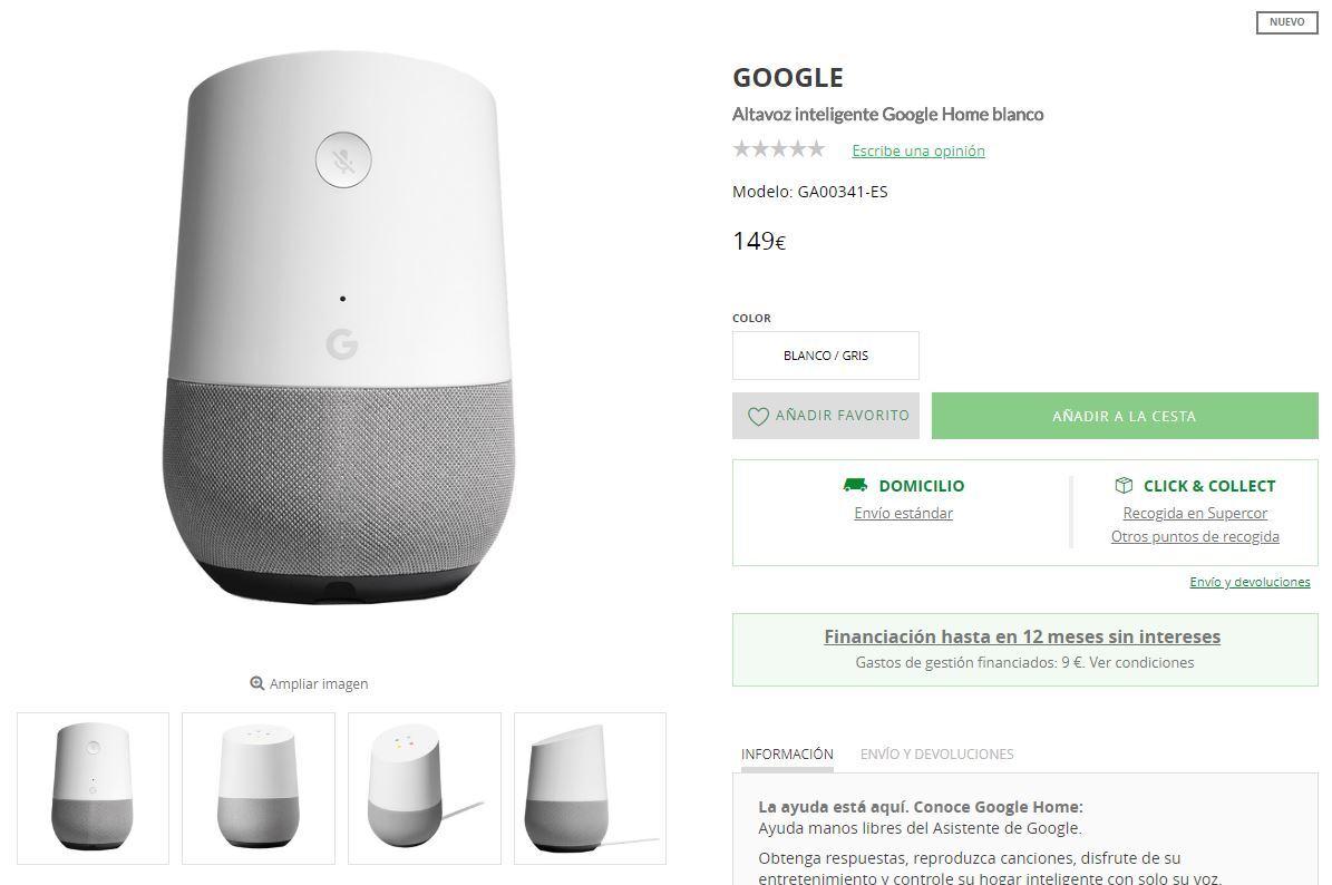 comprar google home españa el corte ingles