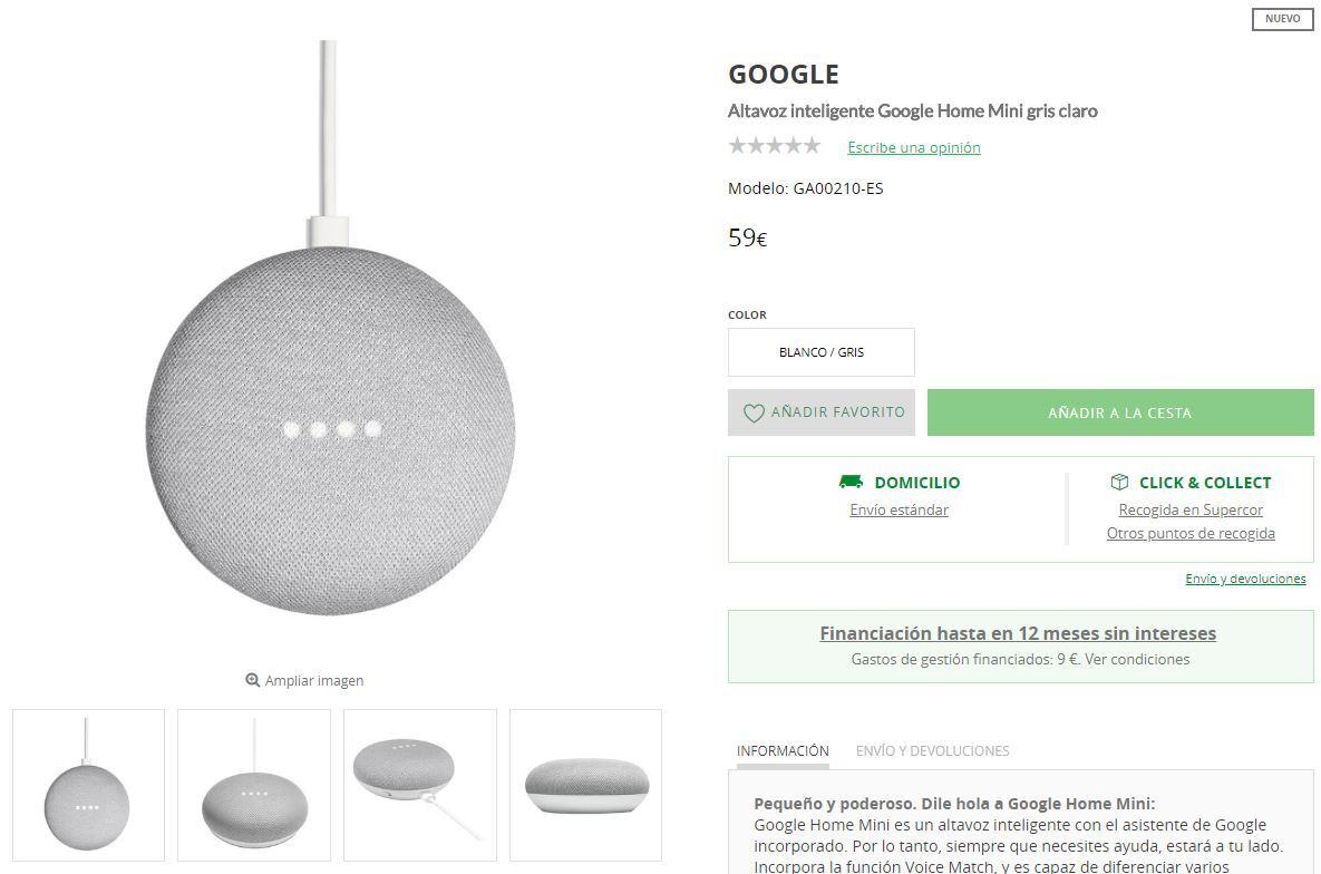 comprar google home mini españa el corte ingles
