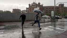 Chaparron a la altura de la plaza de Las Ventas, en Madrid.