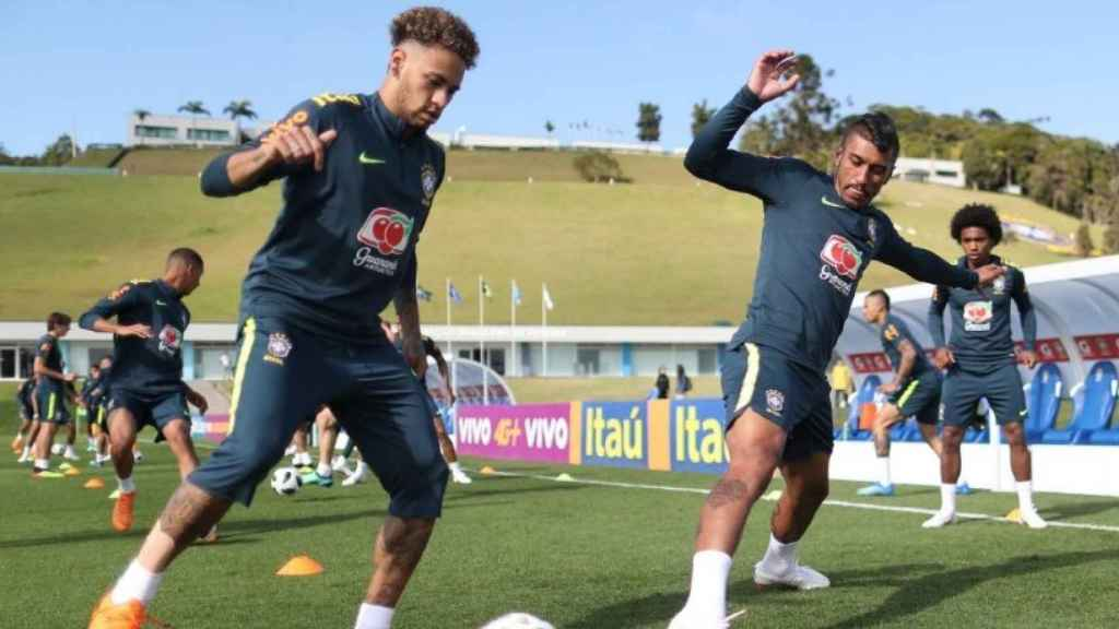 Neymar durante un entrenamiento de Brasil. Foto: Twitter (@CBF_futebol).