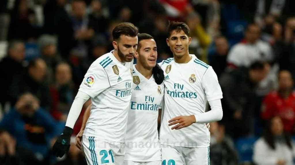 Achraf y Mayoral celebrando el gol de Lucas
