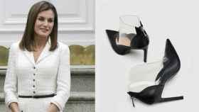 A la derecha, Letizia. A la izquierda los zapatos de Zara.