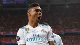 Casemiro celebra el gol de Bale