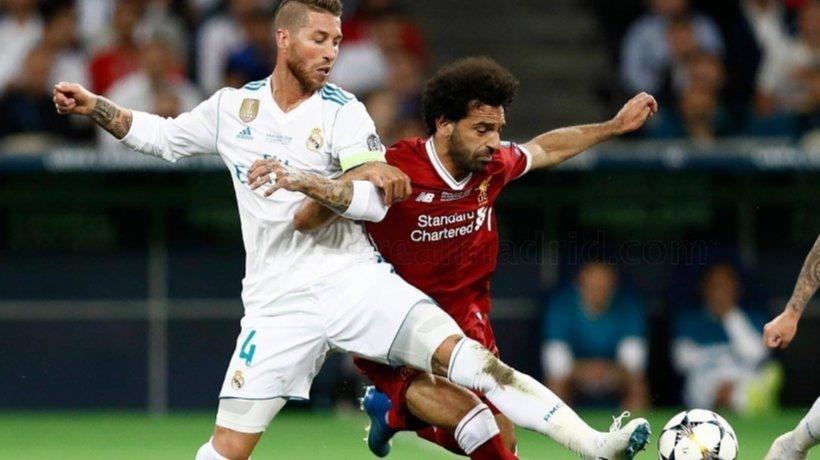 Ramos y Salah, en el Real Madrid - Liverpool