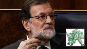 Mariano Rajoy durante la moción de censura, junto a su marca favorita de caramelos.