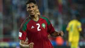 Achraf celebra la victoria de Marruecos.