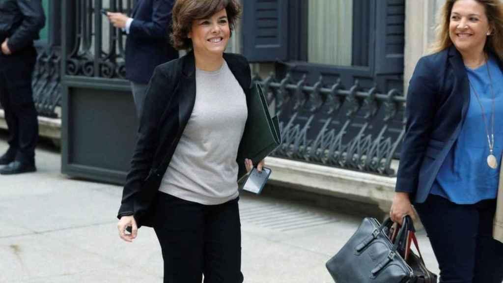 Soraya llegando al Congreso de los Diputados.