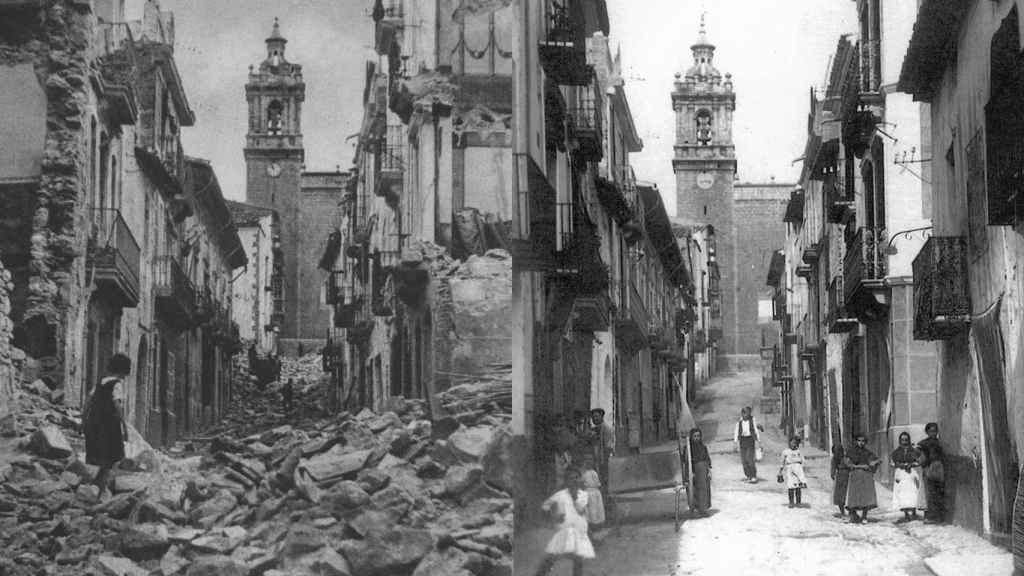 Una de las calles principales del pueblo de Benassal (Castellón), antes y después del bombardeo de los nazis en 1938.