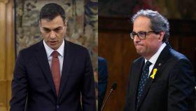 El presidente del gobierno, Pedro Sánchez y el presidente de la Generalitat de Catalunya, Quim Torra.
